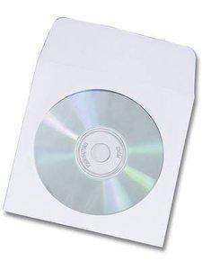 Papieren sleeves voor 1 CD / DVD met zelfklevende flap 100 stuks