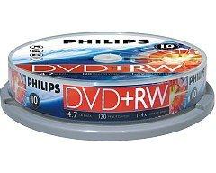 Philips DVD+RW 4.7 GB 10 stuks