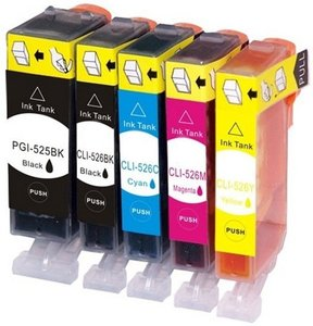 Huismerk Canon pixma MG5350 inkt cartridges CLI-526 / PGI-525 set MET CHIP!