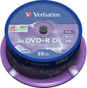 Verbatim DVD+R DL 8.5 GB Matt Silver 25 stuks