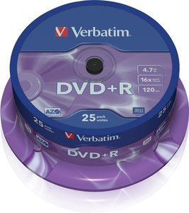Verbatim DVD+R 4.7 GB Matt Silver 25 stuks