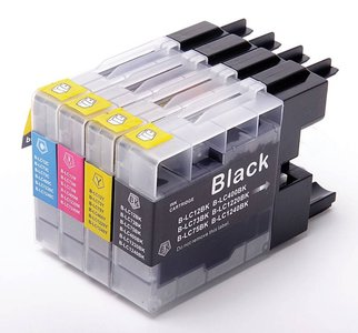 Huismerk Brother DCP-J525W compatible inktcartridges LC1240 set 4 stuks