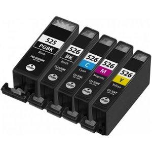 Huismerk Canon pixma MG5350 inktcartridges CLI-526 / PGI-525 set MET CHIP!